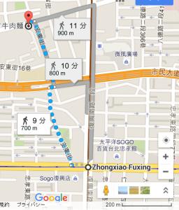 林東芳牛肉麺,地図
