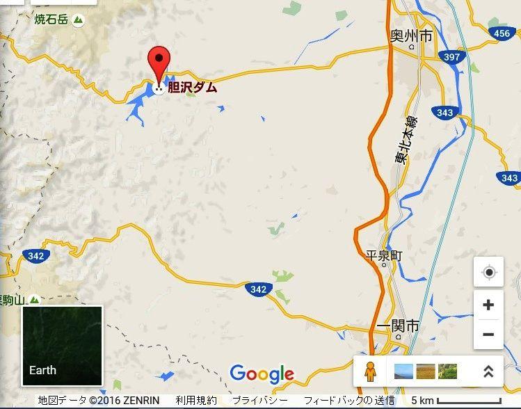 胆沢ダム,地図